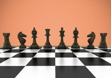Chess pieces against orange background. Digital composite of Chess pieces against orange background vector illustration