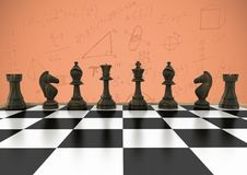 Chess pieces against orange background with math doodles. Digital composite of Chess pieces against orange background with math doodles vector illustration