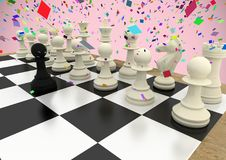 Chess pieces against pink background with confetti. Digital composite of Chess pieces against pink background with confetti stock illustration