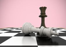 Chess pieces against pink background. Digital composite of Chess pieces against pink background royalty free illustration