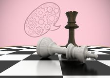 Chess pieces against pink background and speech bubble with cogs. Digital composite of Chess pieces against pink background and speech bubble with cogs royalty free illustration