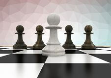 Chess pieces against pink green  mesh Stock Photography