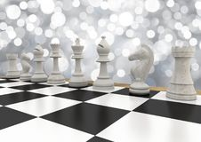 Chess pieces against white bokeh. Digital composite of Chess pieces against white bokeh royalty free illustration