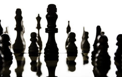 Chess pieces arranged on a chess board with a focus on the figur Stock Images