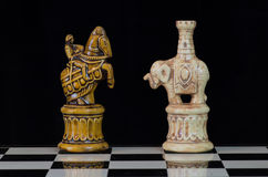 Chess 5. Chess pieces arranged with regard to clean background and blur Royalty Free Stock Photos