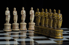 Chess 6. Chess pieces arranged with regard to clean background and blur Stock Photos
