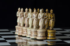 Chess 13. Chess pieces arranged with regard to clean background and blur Stock Images