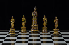 Chess 15. Chess pieces arranged with regard to clean background and blur Royalty Free Stock Images