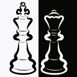Chess pieces, black king and white queen, rivalry or romance.  vector illustration