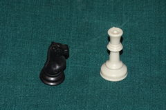 Chess pieces, black and white concept over green Stock Photo