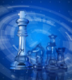 Chess pieces & blue technology background Royalty Free Stock Photography