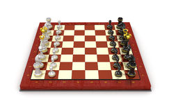 Chess pieces board. All pieces in starting position. On white Stock Photography