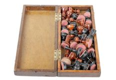 Chess pieces in box Stock Images