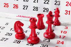 Chess Pieces on Calendar Royalty Free Stock Photography
