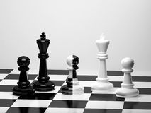 Chess pieces on checked board. 3D chess pieces on a black and white checked board Royalty Free Stock Images