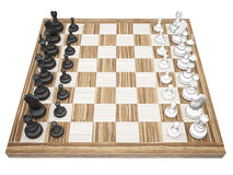 Chess pieces on a chess board isolated Stock Photos