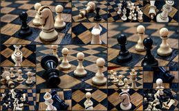 Chess pieces from 1970  on chess board Royalty Free Stock Photo