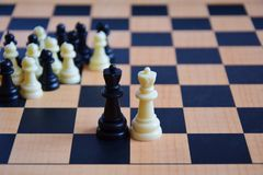 Chess pieces on the chess board Royalty Free Stock Photo