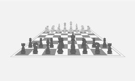Chess pieces on the chess board. Vector. Illustration Stock Image
