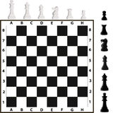 Chess pieces and chessboard. Chess. Chessmen are figures such as a king, queen, rook, elephant, horse, pawn. Vector illustration, isolated on white background royalty free illustration