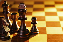 Chess pieces on a chessboard Royalty Free Stock Photo