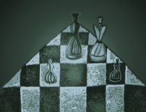 Chess pieces on a chessboard. Hand drawn vector illustration in abstract style. Dramatic light Stock Photo