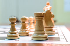 Chess pieces on chessboard Royalty Free Stock Photo