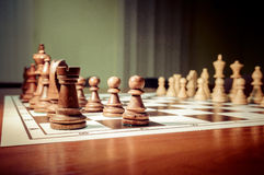 Chess pieces on chessboard Royalty Free Stock Images
