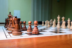 Chess pieces on chessboard Stock Photo