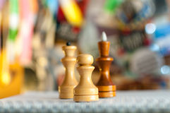 Chess pieces on a colored background Stock Photography
