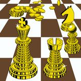 Chess pieces are composed of gold coins. The concept of manipulation of finances as a comparison with the game of chess stock illustration