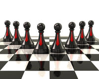 Chess pieces on desk Stock Images