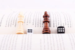 CHESS PIECES, DICE AND BOOK Royalty Free Stock Photography