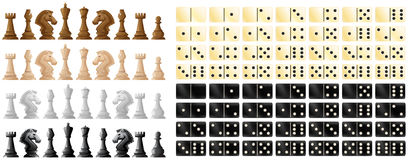 Chess pieces and domino in black and white. Illustration Royalty Free Stock Photos