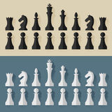 Chess pieces flat design style. Vector. Royalty Free Stock Photo