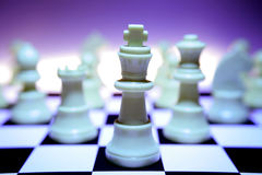 Chess Pieces/Focus on King Royalty Free Stock Images