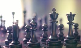 Chess Pieces Gameboard. 3D illustration. Pieces of chess game, image with shallow depth of field Royalty Free Stock Photos