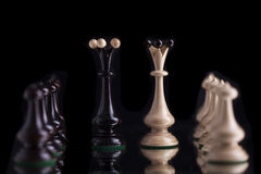 chess pieces on glass Royalty Free Stock Photo