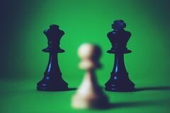 Chess pieces on green