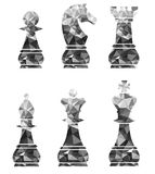 Chess Pieces Including King Queen Rook Pawn Knight and Bishop. stock photography