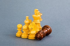 Chess pieces. On a isolated blue background Royalty Free Stock Photo