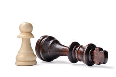 Chess pieces - king and pawn Royalty Free Stock Images