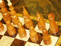 Chess pieces lined up Royalty Free Stock Photos
