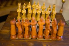 Chess pieces - made of wood royalty free stock photos