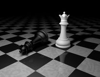 Chess pieces on marble floor, dark background with black and white Stock Photo