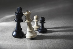 Chess pieces mixed marriage Royalty Free Stock Photography
