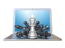 Chess pieces on open laptop front view 3D Stock Photography