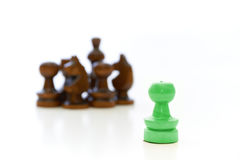 Chess Pieces with a Opposite Leader. Chess pieces (pawn, knight, king) with a leader on white background Stock Images