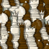 Chess pieces pattern. Seamless background pattern with chess pieces stock illustration