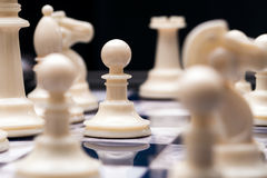 Chess pieces. A pawn in the middle of a game of chess royalty free stock image